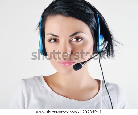Customer Support girl - stock photo