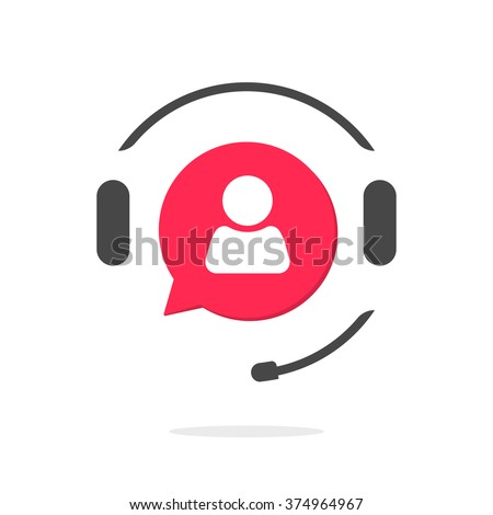 Customer support helpdesk logo symbol, assistant operator phoning badge, hotline communication emblem, abstract headphones, bubble speech, agent user talking, flat icon design sign isolated image
