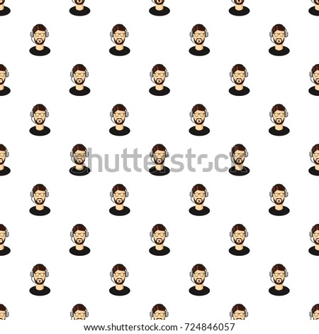 Customer support operator with a headset pattern seamless repeat in cartoon style  illustration #724846057