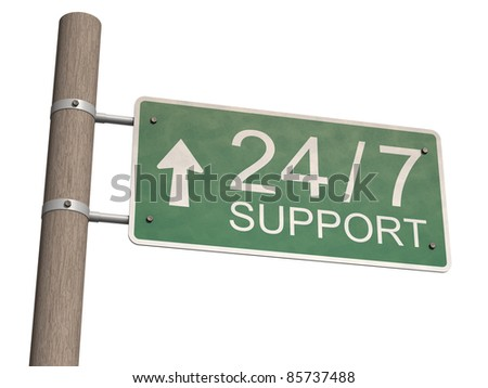 Customer support sign. Isolated on the white background.