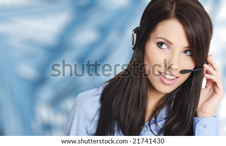 Customer support woman with headset over blue office background