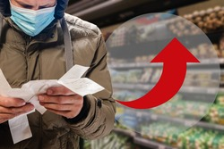 Customer surprised with high price of food during covid-19 epidemic, arrow infographics show the change in the cost of products