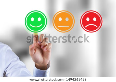 Customer survey feedback, a customer rating with happy icon #1494263489