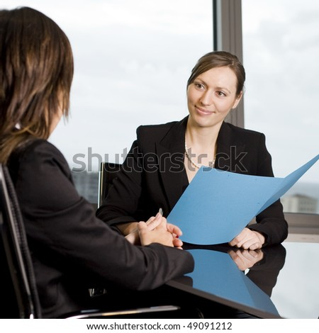 Customer talk at a nice table - stock photo