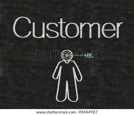 customer with target symbols written on blackboard background high resolution