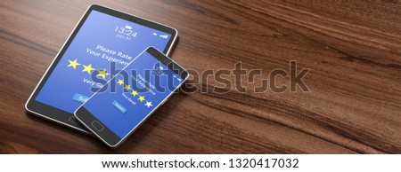Customers feedback, rating, review. 4 stars, very good text on devices screens, wooden background, banner, copy space. 3d illustration #1320417032