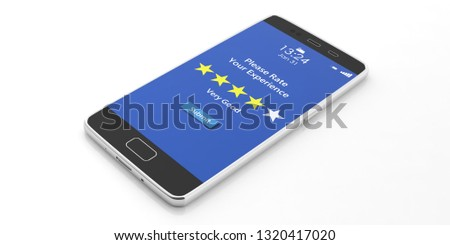 Customers service rating, review. 4 stars, very good text on a mobile phone screen isolated on white background. 3d illustration #1320417020