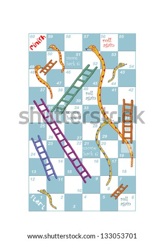 Customisable print and play Snakes & Ladders game design