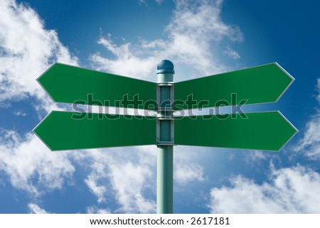 Customizable green street sign on a blue cloudy sky