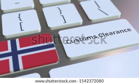 CUSTOMS CLEARANCE text and flag of Norway on the computer keyboard. Import or export related conceptual 3D rendering