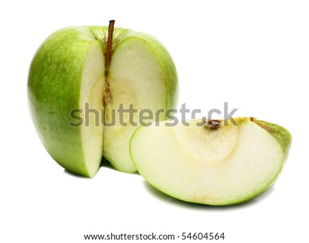 cut apple to pieces isolated on white background