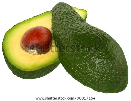 Cut avocado on a white background. - stock photo