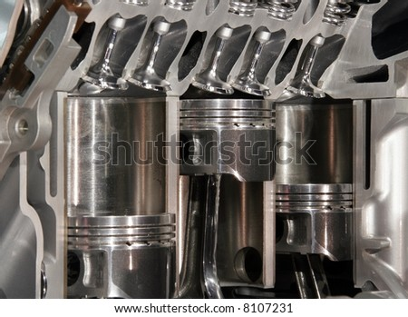 Cut away engine - stock photo