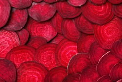 Cut beets as background. Backdrop for design