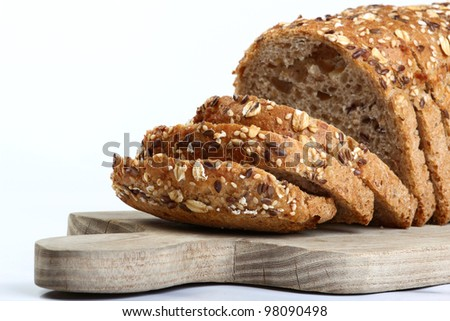 cut bread on cutting wooden board