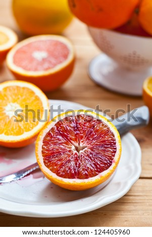Cut Different Kind of Oranges on plate. Also available in horizontal format.