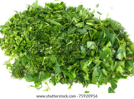 cut dill and parsley #75920956