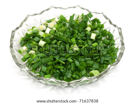 cut dill and parsley in beautiful plate #71637838