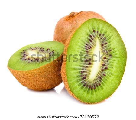 Cut fruit of kiwi Isolated Located on White