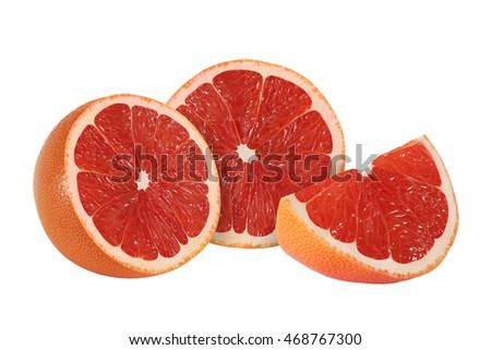 cut grapefruit fruits isolated on white background  #468767300