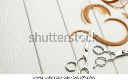 Cut hair curls and thinning scissors on a white wooden background. Copy space for text