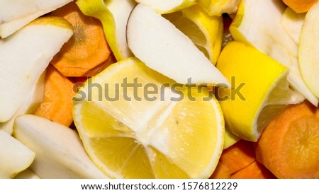 Cut into pieces fruits and vegetables.Background of chopped vegetables and fruits.Fruits and vegetables for blender.