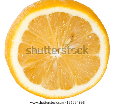 Cut lemon isolated on a white background