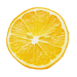 Cut lemon with pulp, close-up. Isolated on a white background