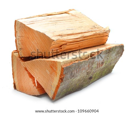 Cut log fire wood from Oak tree. Renewable resource of a energy. Environmental concept.