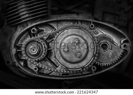 cut motor-driven chain black and white