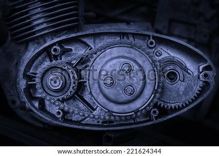 cut motor-driven chain in blue tone