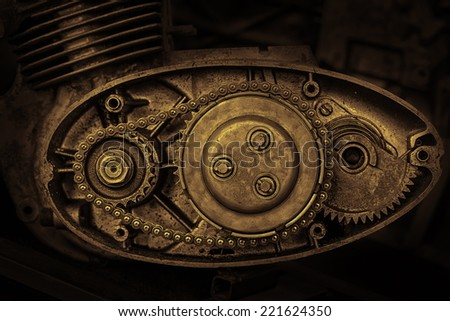 cut motor-driven chain in sepia