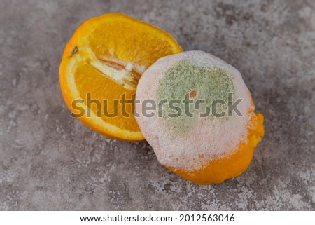 Cut mouldy orange with white and green mold on table. Stock photo ©