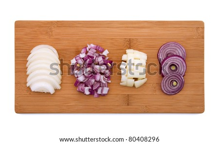 Cut onion on wooden board