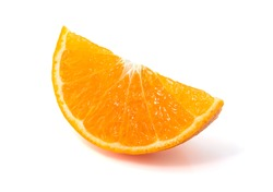 Cut orange isolated on white background, Orange fruit with clipping path.