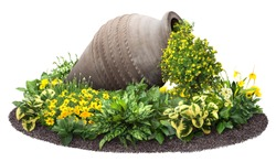 Cut out amphorae surrounded by plants. Flower bed isolated on white background. Decorative flowers in pot for garden design or landscaping. High quality clipping mask.