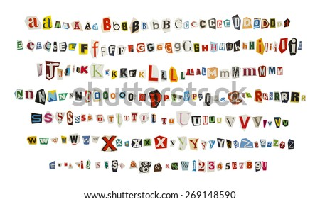 Cut out Kidnapper Ransom Note Letters Isolated on White Background. Foto stock ©