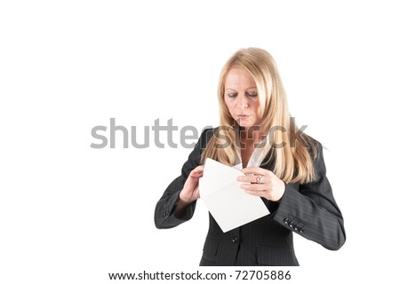 Cut-out of a middle aged woman who opens a letter