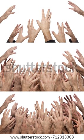 Shutterstock cut out of many hand reaching up in the air trying to grab something