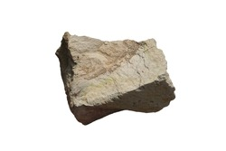 cut out of raw specimen of Shale sedimentary rock isolated on white background.