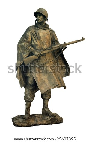 cut out statue of american soldier, can be used on any military theme