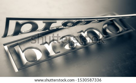 cut out the word brand - brand concept design, 3d illustration