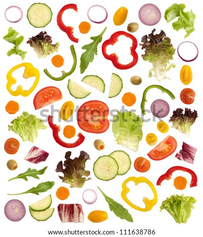 Cut raw vegetables isolated on white background