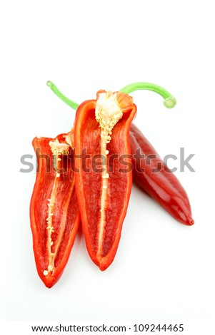cut red sweet pointy pepper(capsicum) on a white background