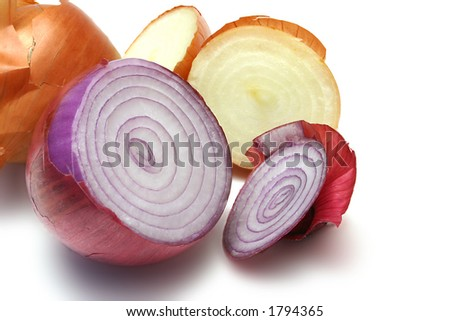 Cut Spanish onion with brown onions, isolated on white