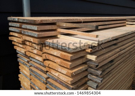 Cut timber planks at Sawmills in Amsterdam