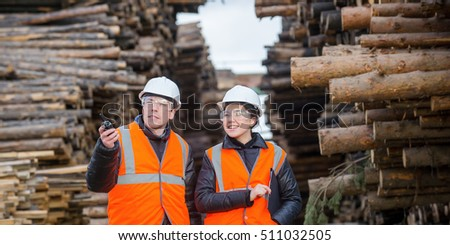 Cut trees and workers Stock photo ©