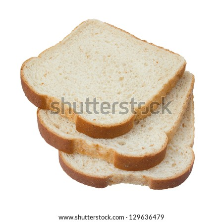 Cut wheat bread isolated on white