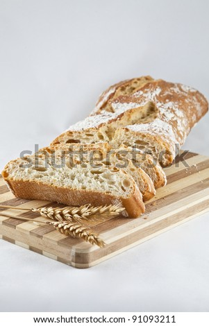 cut wheat bread on a table