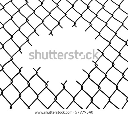 Cut wire fence. White background. Vector file also available: please check our portfolio.